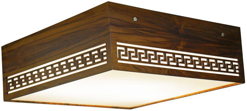 Plafon Gregas Horizontal Em Madeira 15x35x35cm 2xE27 Bivolt Union Iluminação 107