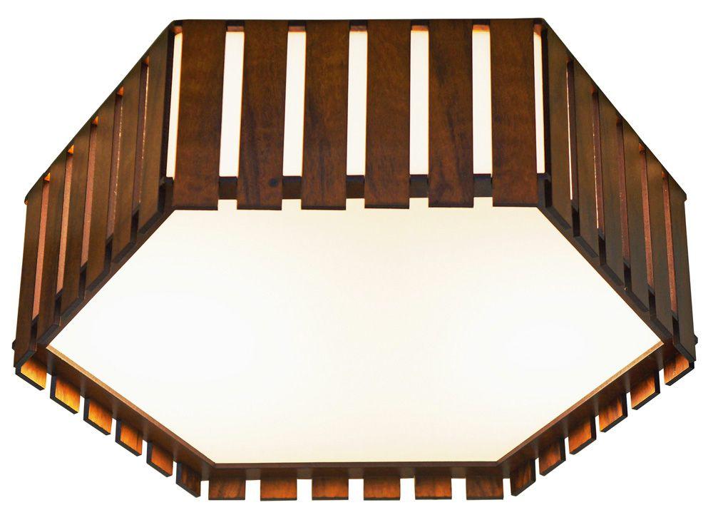 Plafon Hexágono Ripado Em Madeira Ø60x15cm 4xE27 Bivolt Union Iluminação 187