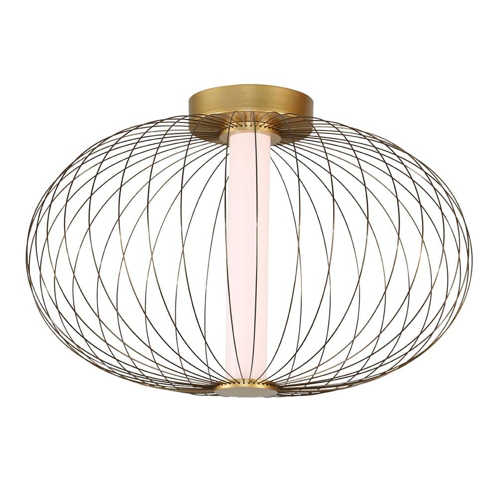 Plafon Lanterna Dourado e Branco Fosco Ø40x25cm Led 12W Bivolt Bella Iluminação HC011