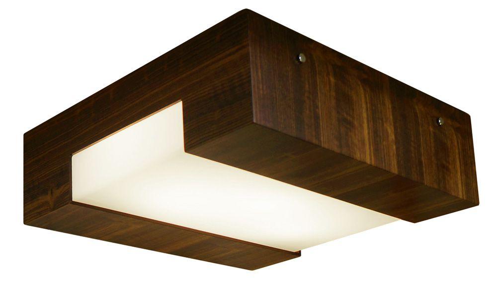 Plafon Listra Em Madeira 12x30x30cm 2xE27 Bivolt Union Iluminação 055