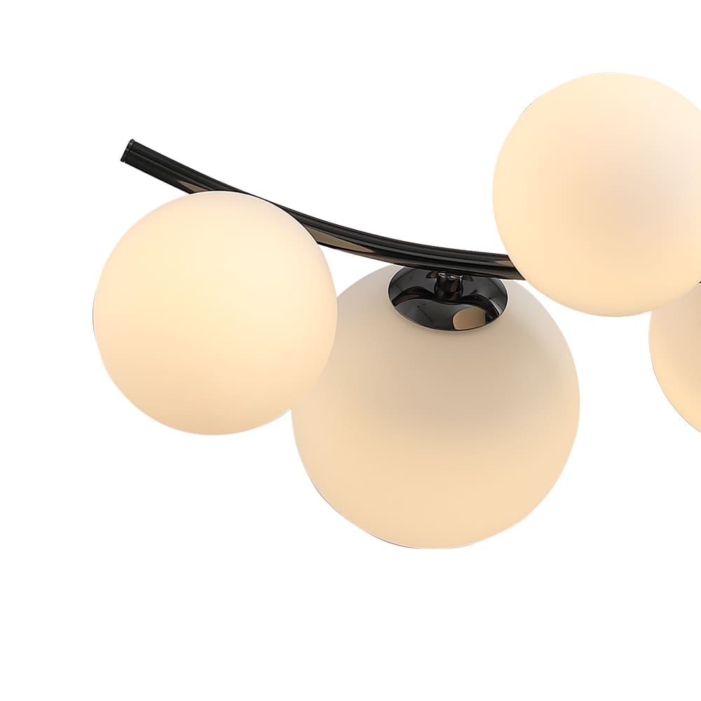 Plafon Nero Cromo Negro e Branco 49x33x53cm 5xG9 50W Bivolt Bella Iluminação MM001
