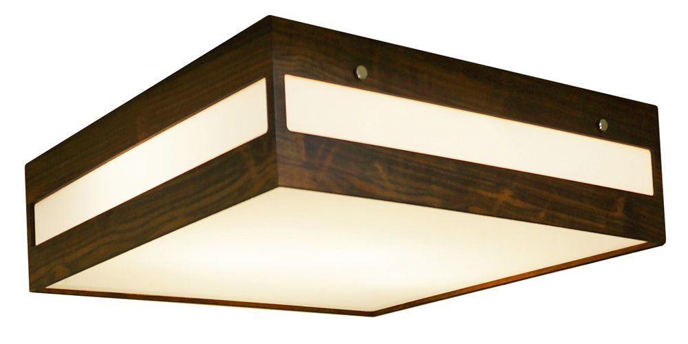 Plafon Retângulo Horizontal Em Madeira Imbuia 12x40x40cm 3xE27 Bivolt Union Iluminação 027