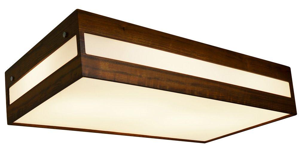Plafon Retângulo Horizontal Longo Em Madeira 12x60x30cm 4xE27 Bivolt Union Iluminação 030