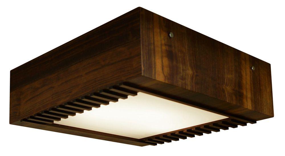 Plafon Ripado Aberto Em Madeira 12x30x30cm 2xE27 Bivolt Union Iluminação 056