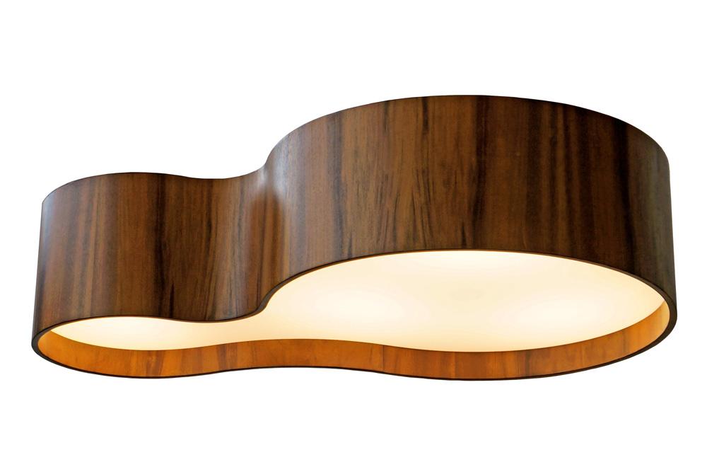 Plafon Semi Cilíndrico Em Madeira 20x100x60cm 5xE27 Bivolt Union Iluminação 295