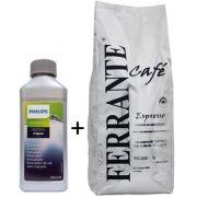 Kit: 1 Descalcificante Philips Saeco + 1kg Café em Grãos Superior Ferrante