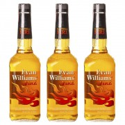 Kit 03 Unidades Whisky Evan Williams Fire Canela 750ml