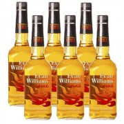 Kit 06 Unidades Whisky Evan Williams Fire Canela 750ml