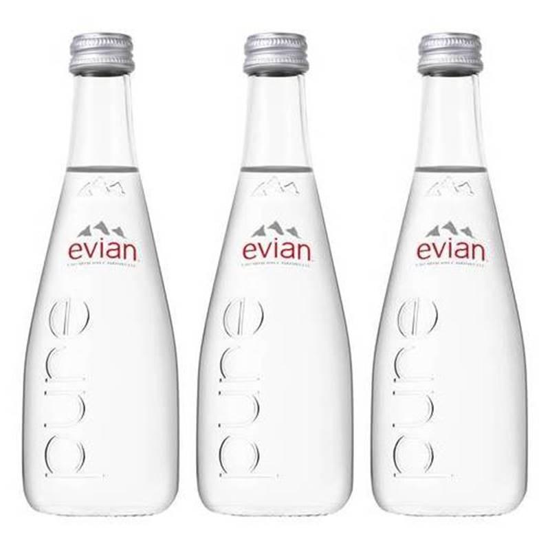 Água Mineral Evian Sem Gás Vidro 330ml 03 Unidades