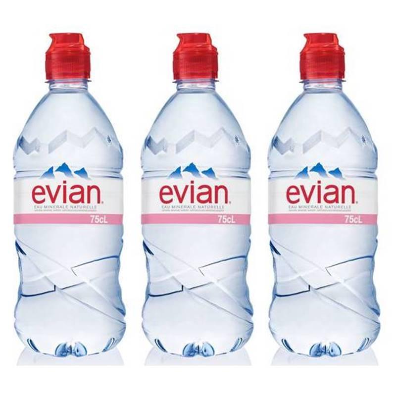 Água Mineral Evian Sem Gás Plástico 750ml 03 Unidades