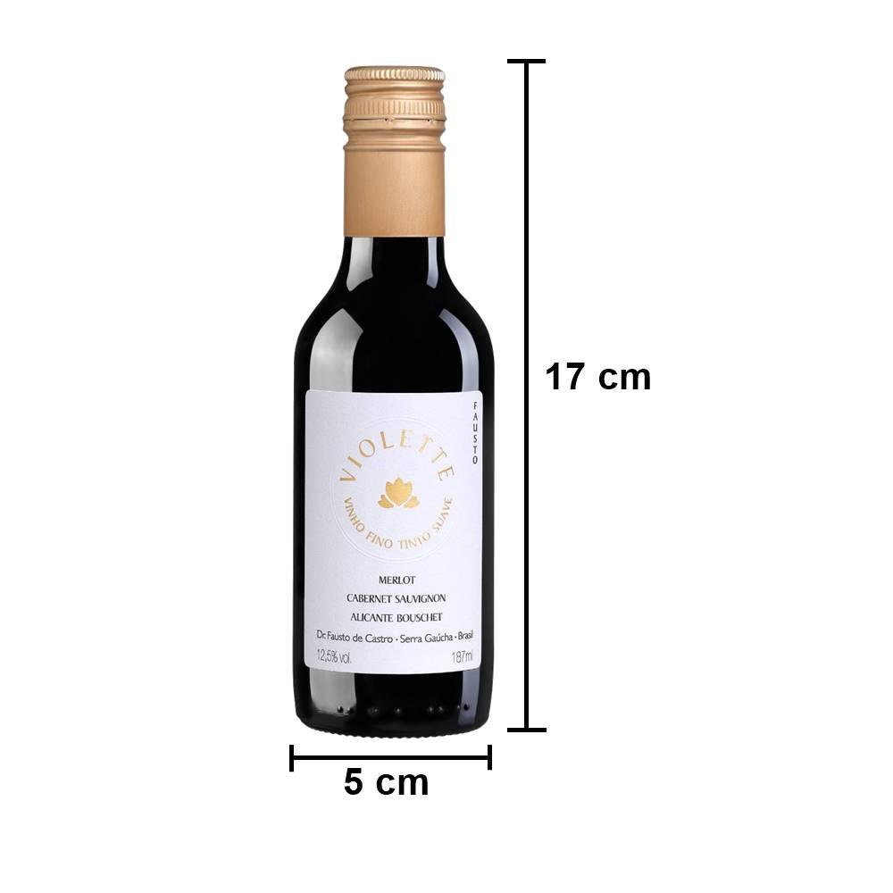 Kit 03 Un. Mini Vinho Fausto de Pizzato Violette Suave 187ml