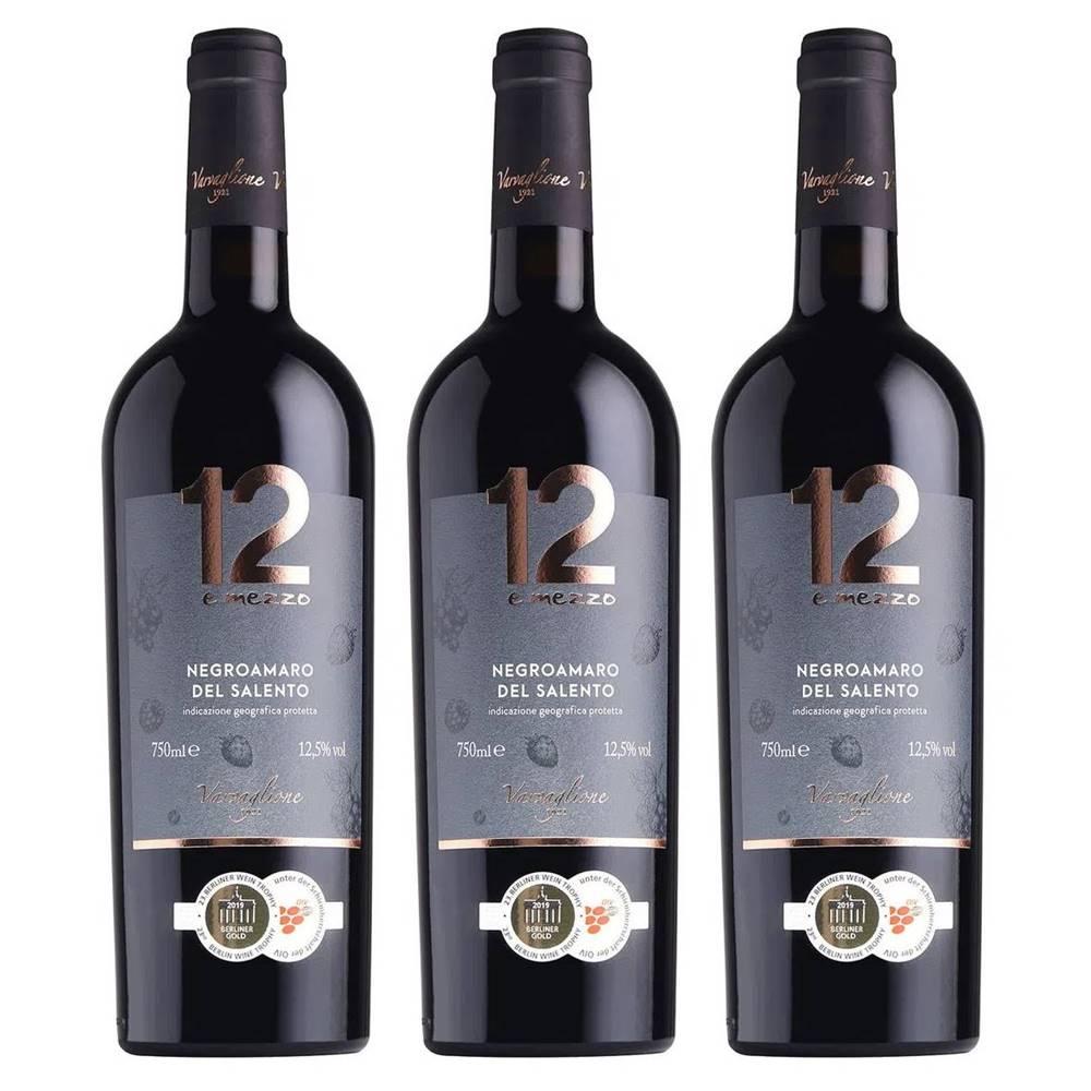 Kit 03 Un. Vinho 12 e Mezzo Negroamaro del Salento IGP 750ml