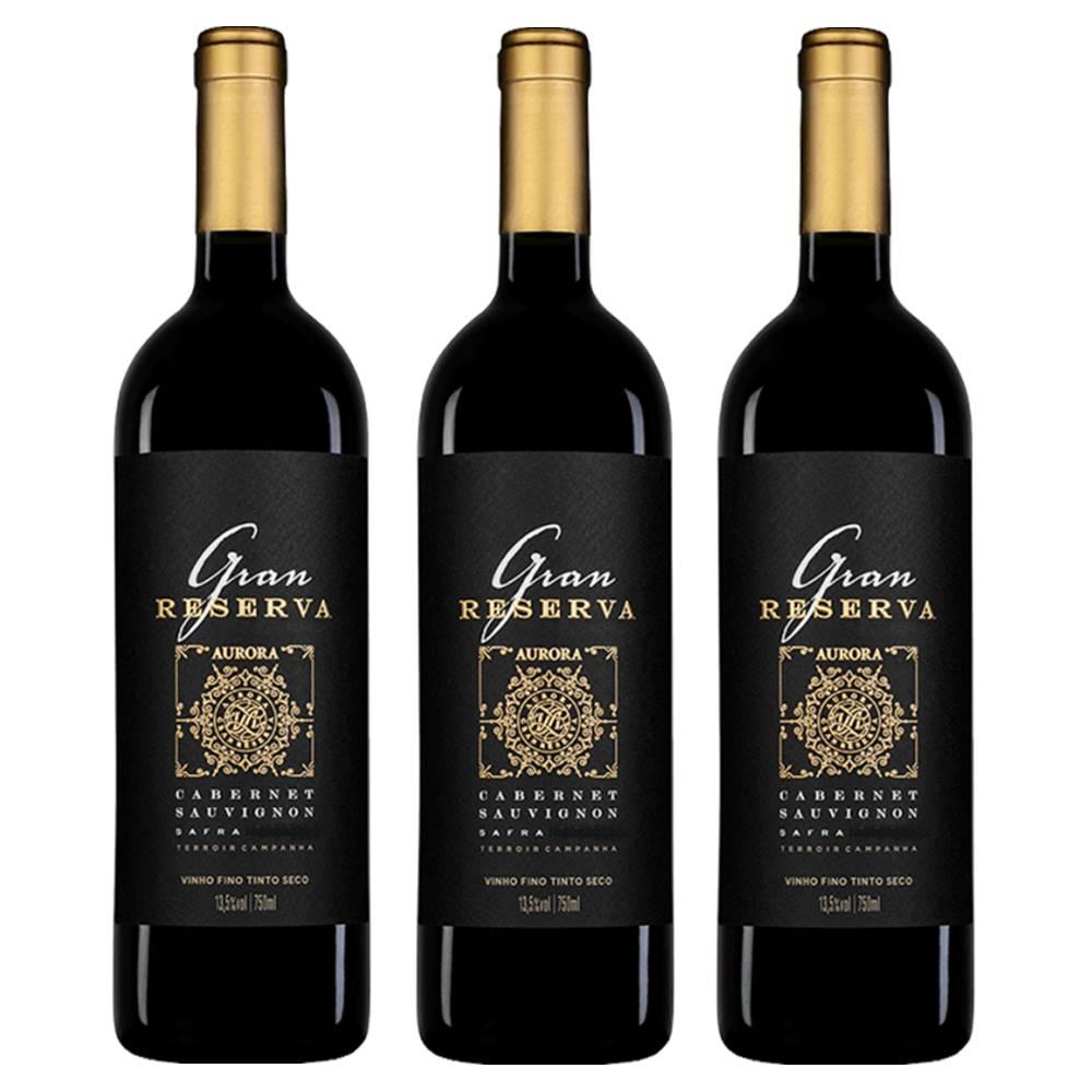 Kit 03 Un Vinho Aurora Gran Reserva Cabernet Sauvignon 750ml