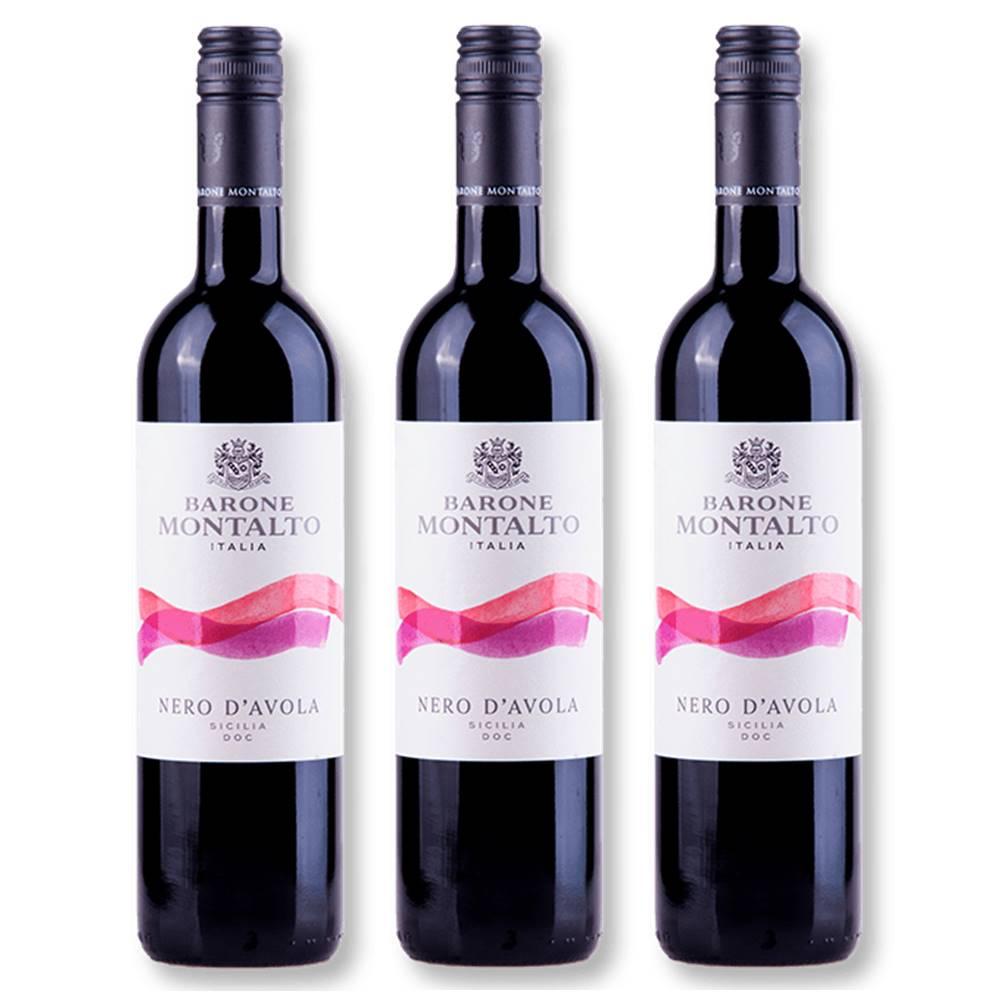 Kit 03 Un. Vinho Barone Montalto Acquerello Nero D'Avola