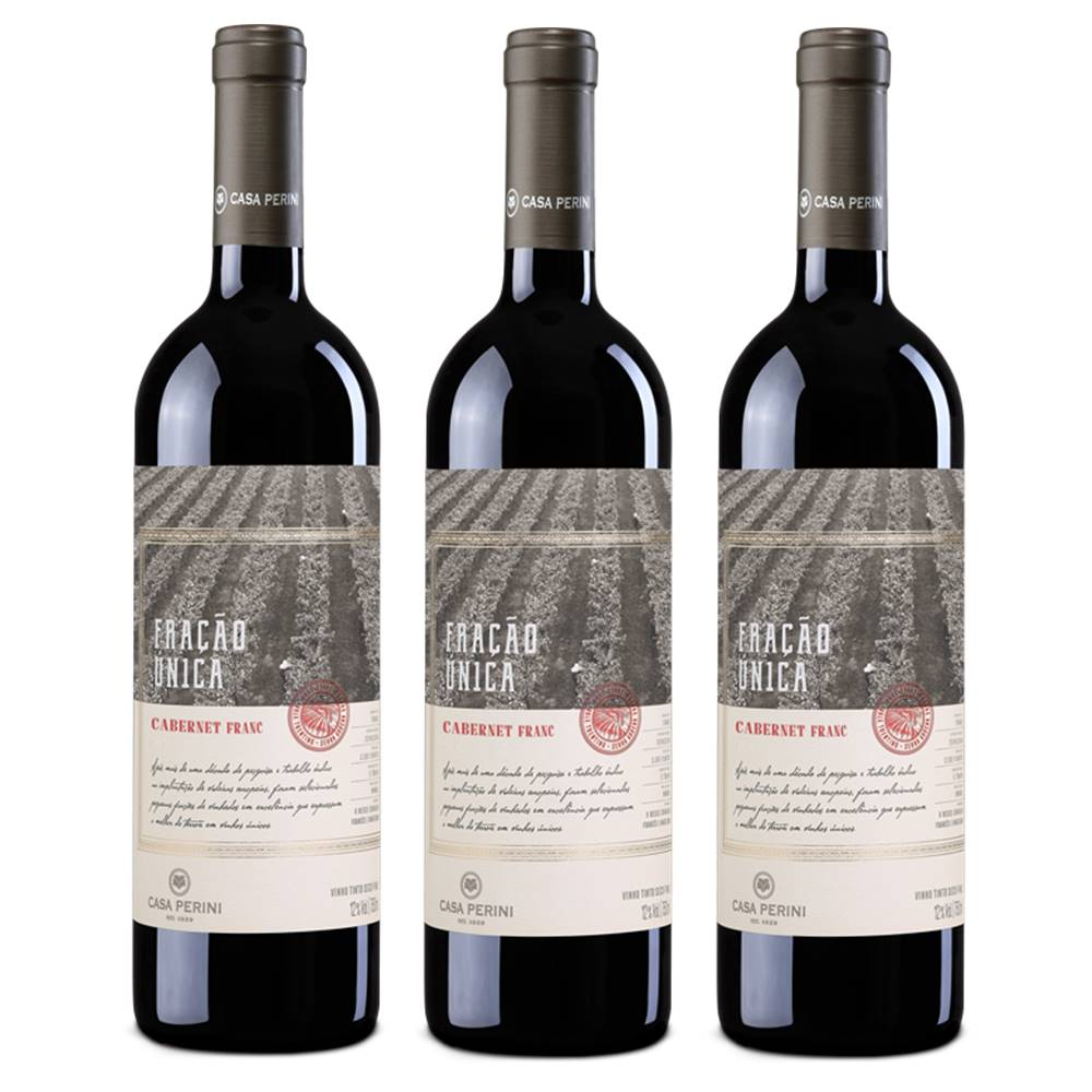 Kit 03 Un. Vinho Casa Perini Fração Única Caber. Franc 750ml