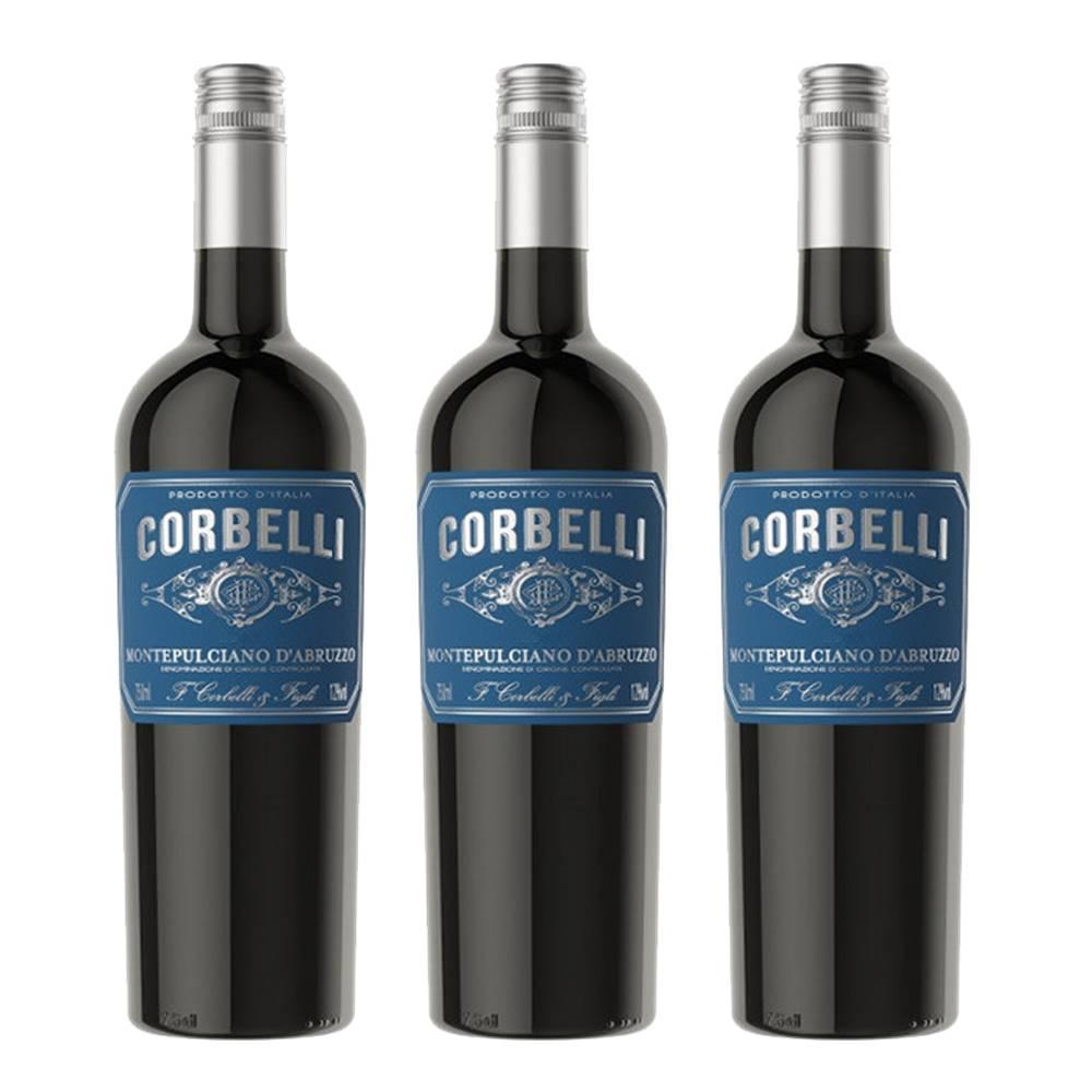 Kit 03 Un. Vinho Corbelli Montepulciano D Abruzzo DOC 750ml