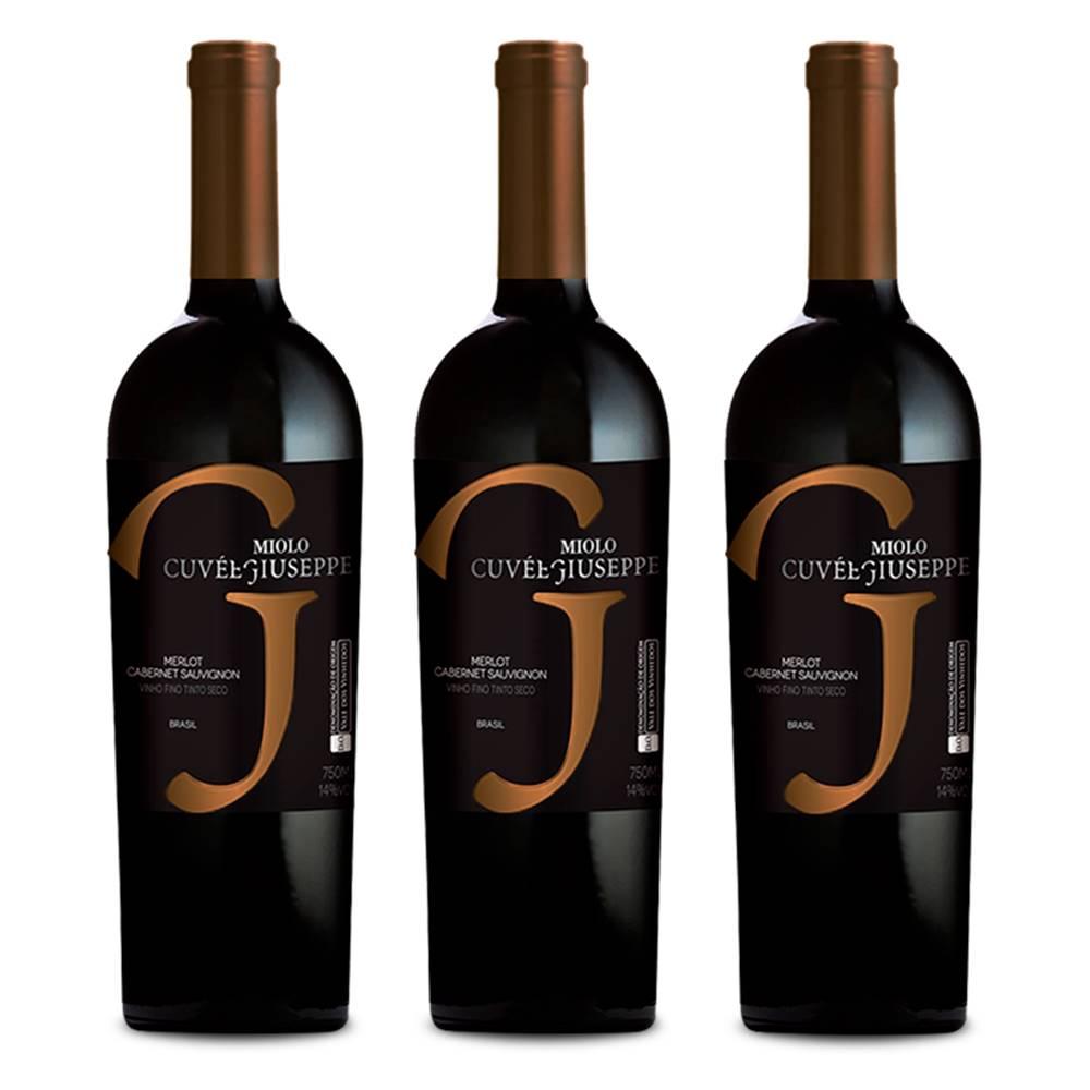 Kit 03 Un. Vinho Miolo Cuvée Giuseppe Cabernet Merlot 750ml