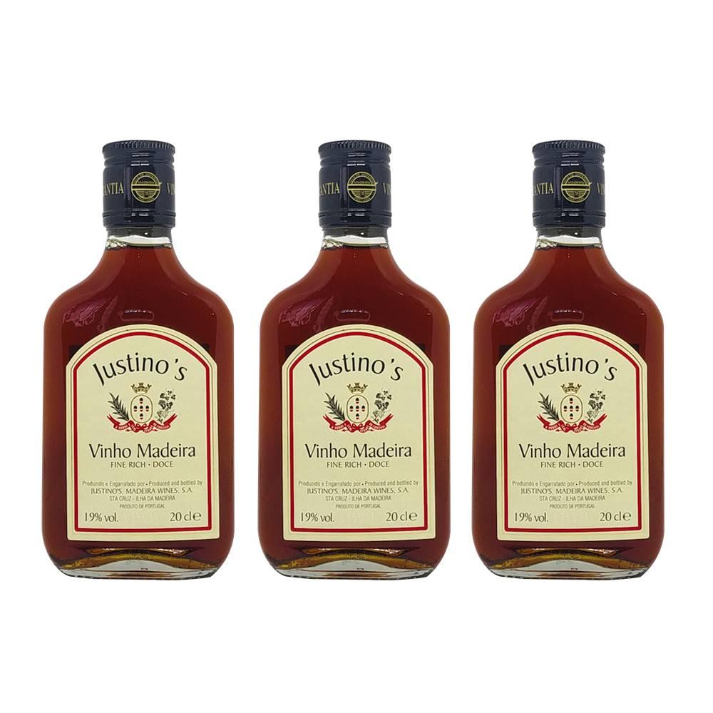 Kit 03 Unid. Mini Vinho Madeira Justinos 3 Anos Doce 200ml