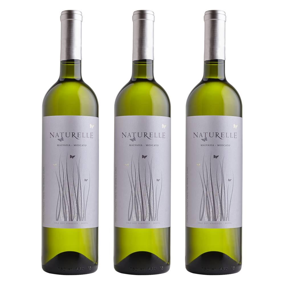 Kit 03 Unid. Vinho Casa Valduga Naturelle Branco Suave 750ml