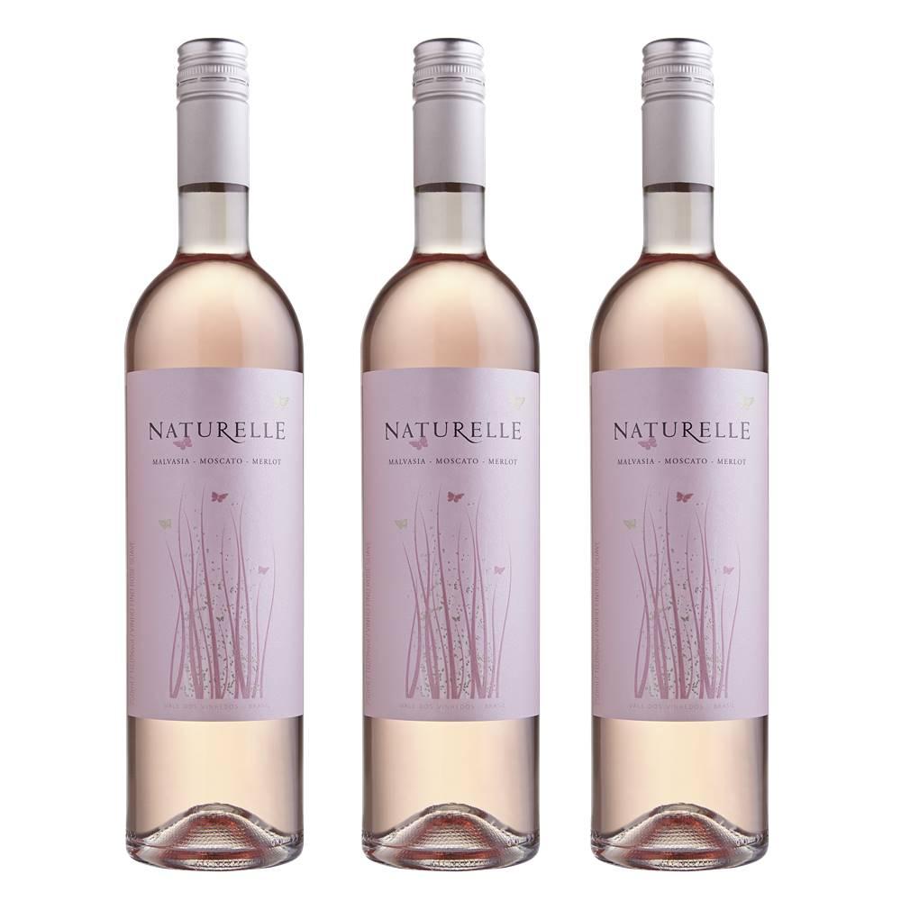 Kit 03 Unid. Vinho Casa Valduga Naturelle Rosé Suave 750ml