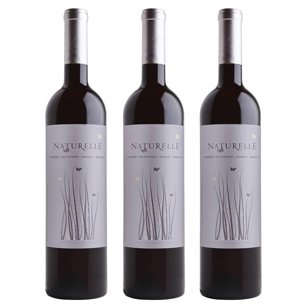 Kit 03 Unid. Vinho Casa Valduga Naturelle Tinto Suave 750ml