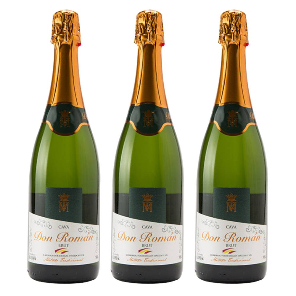 Kit 03 Unidades Espumante Cava Don Román Brut 750ml