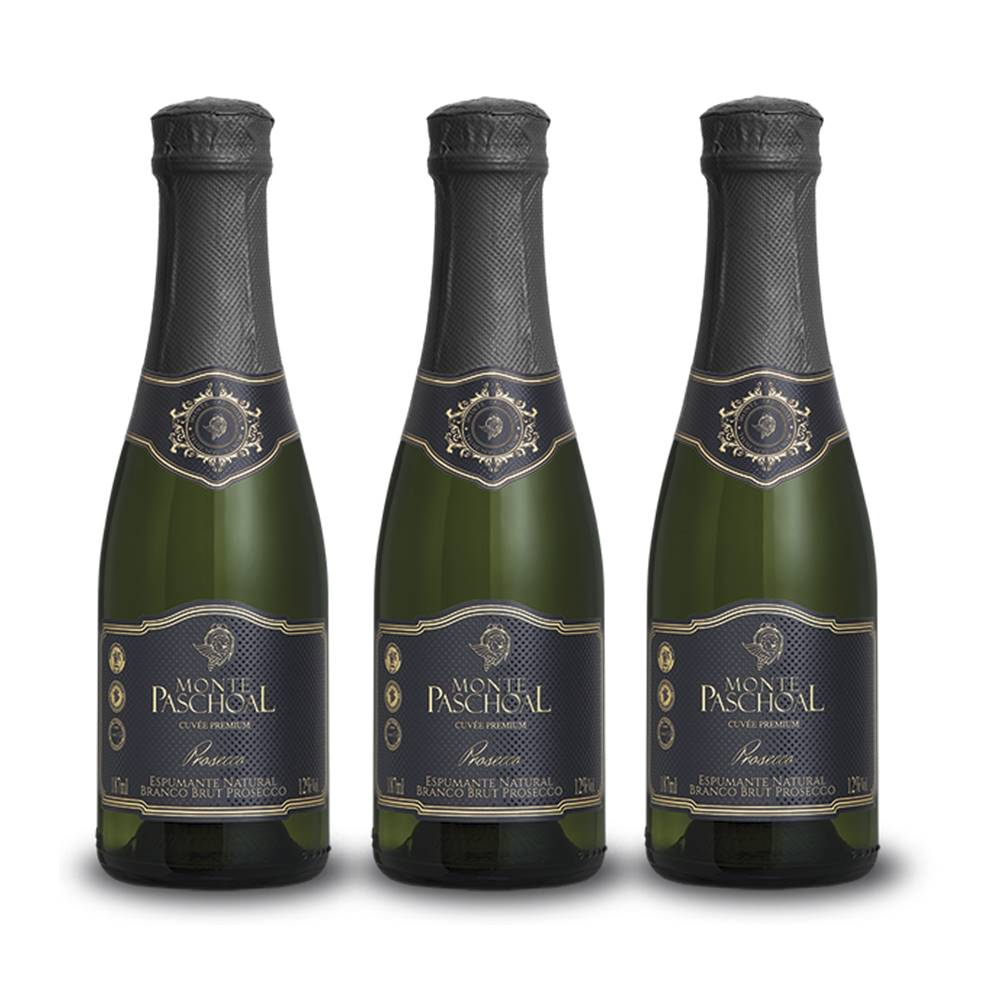 Kit 03 Unidades Mini Espumante Monte Paschoal Prosecco 187ml