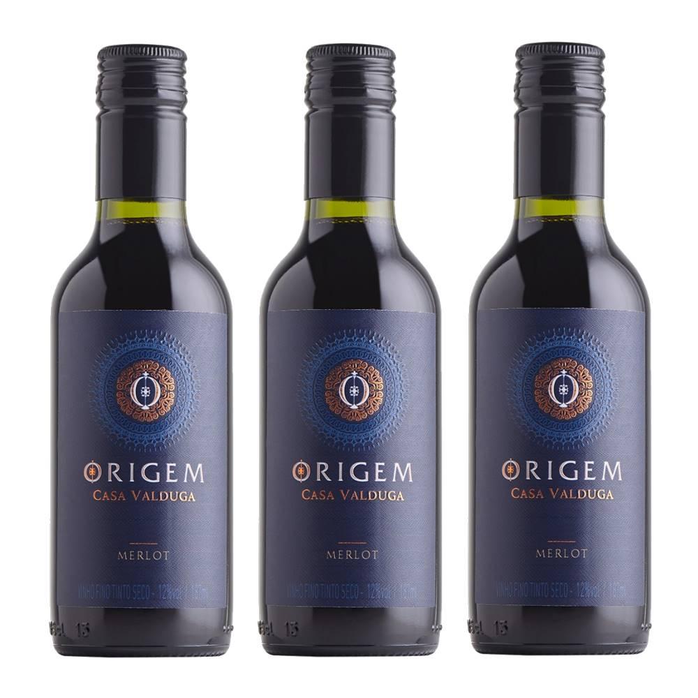 Kit 03 Unidades Mini Vinho Casa Valduga Origem Merlot 187ml