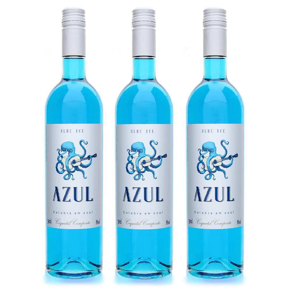 Kit 03 Unidades Vinho Azul Ice Moscato Casa Motter 750ml