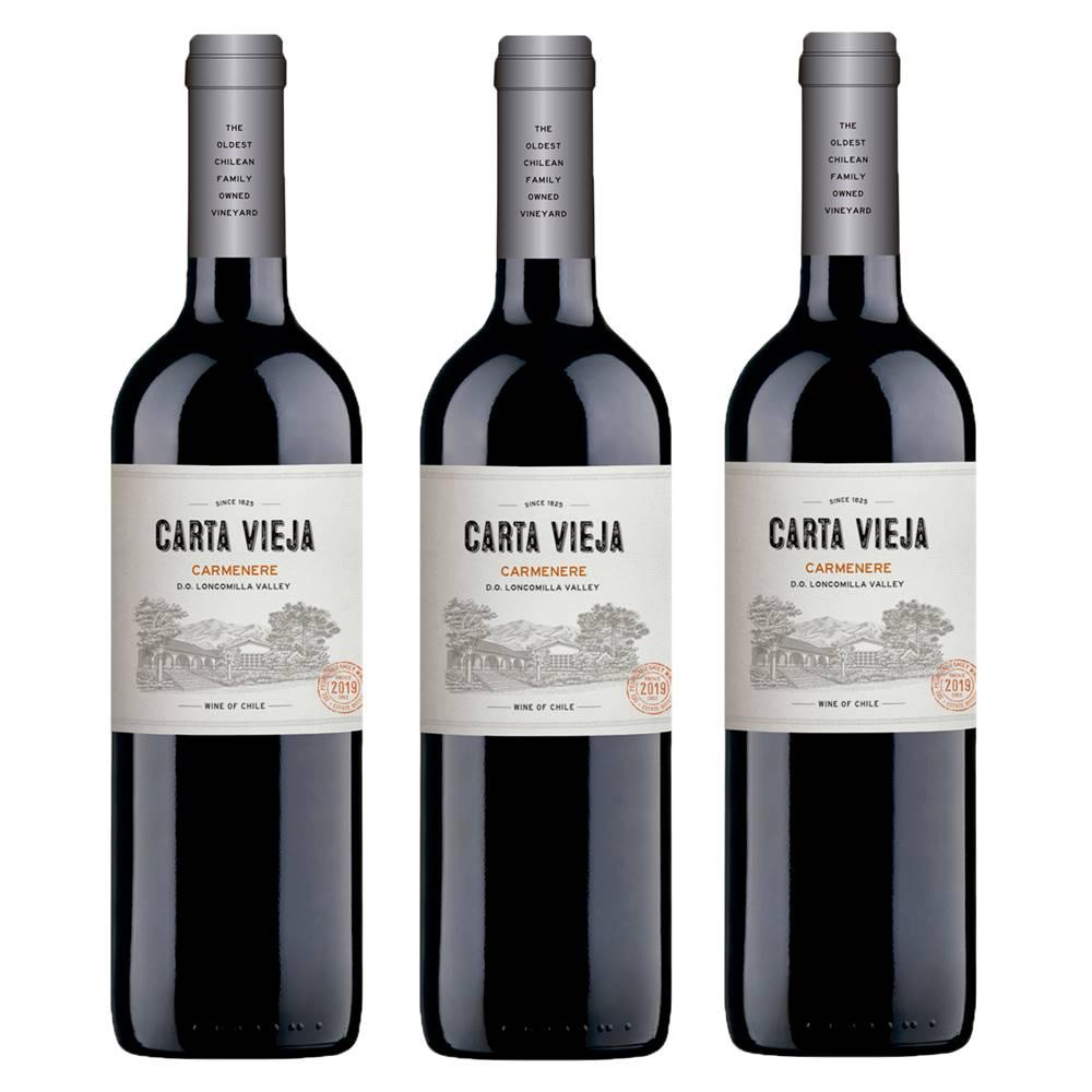 Kit 03 Unidades Vinho Carta Vieja Carménère 750ml