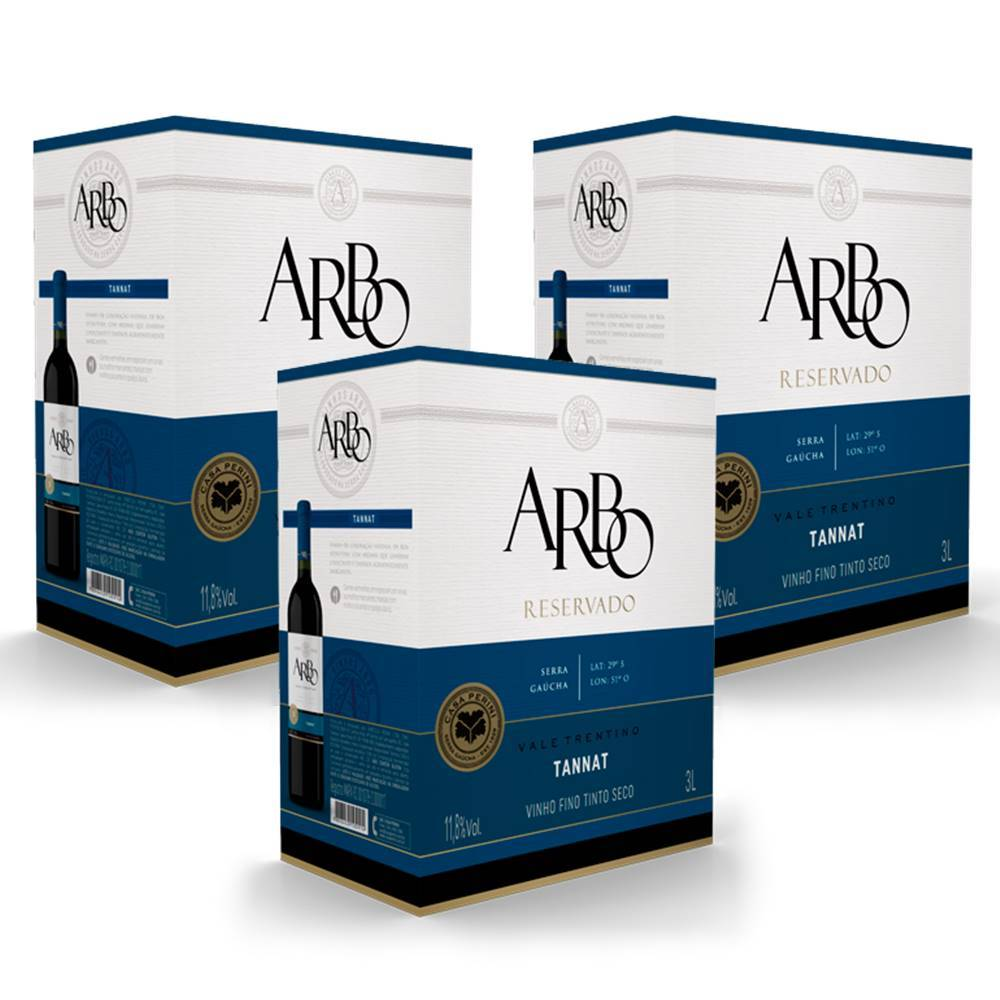 Kit 03 Unidades Vinho Casa Perini Arbo Tannat Bag in Box 3 Lt