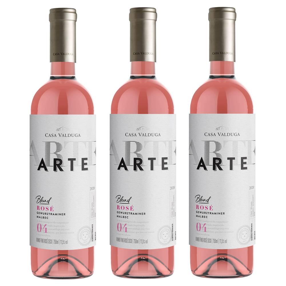Kit 03 Unidades Vinho Casa Valduga Arte Rosé 750ml