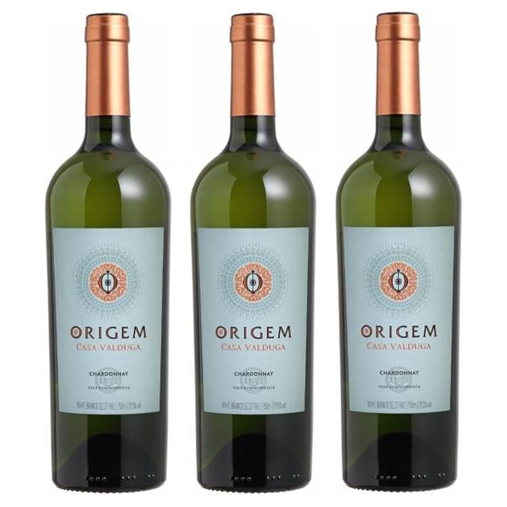 Kit 03 Unidades Vinho Casa Valduga Origem Chardonnay 750ml