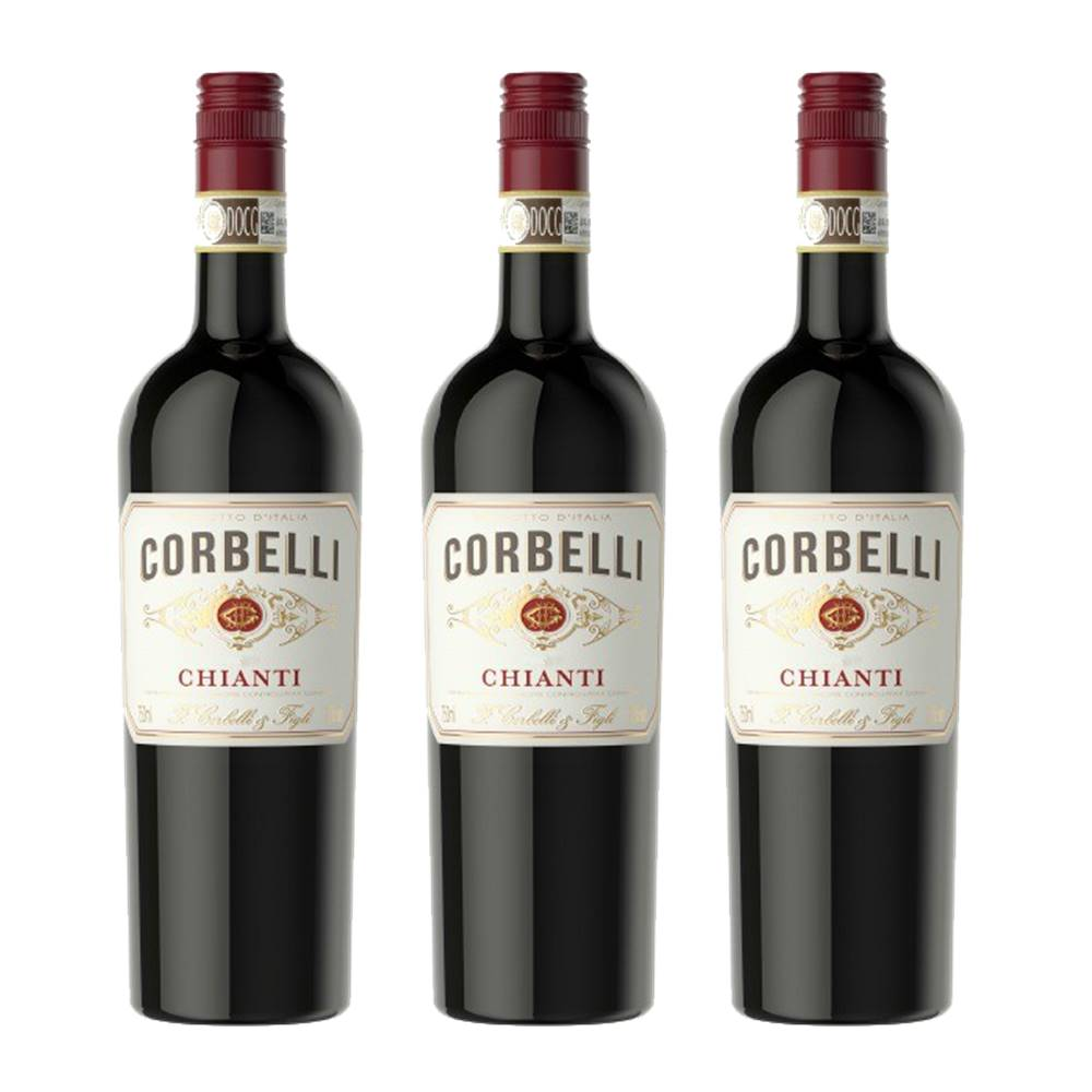 Kit 03 Unidades Vinho Corbelli Chianti DOCG 750ml