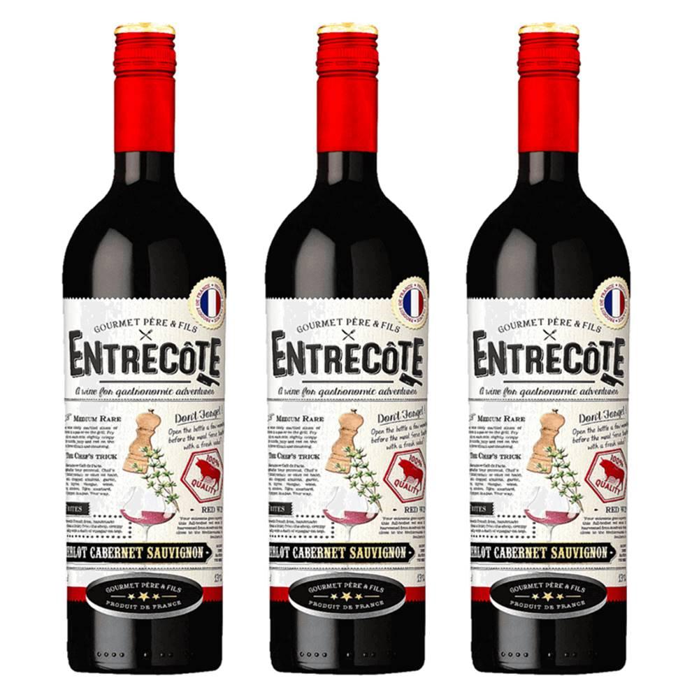 Kit 03 Unidades Vinho Entrecôte Merlot Cabernet Syrah 750ml