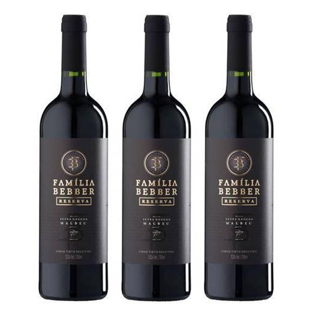 Kit 03 Unidades Vinho Família Bebber Reserva Malbec 750ml