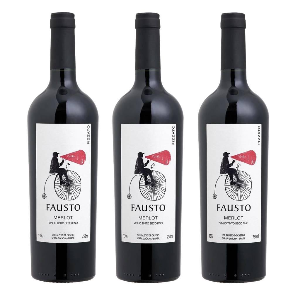 Kit 03 Unidades Vinho Fausto de Pizzato Merlot 750ml