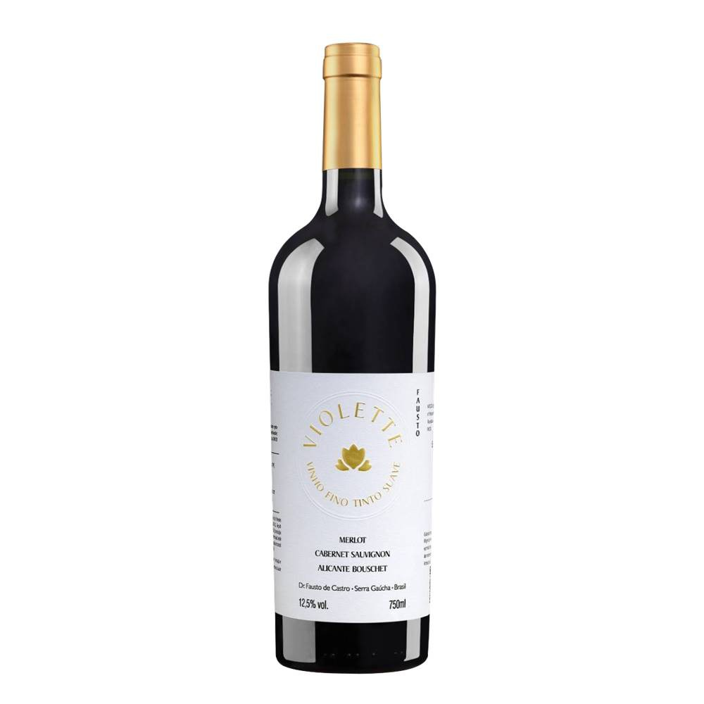 Kit 03 Unidades Vinho Fausto de Pizzato Violette Suave 750ml