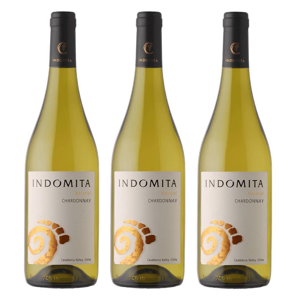Kit 03 Unidades Vinho Indomita Varietal Chardonnay 750ml