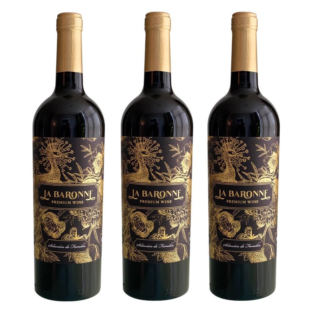 Kit 03 Unidades Vinho La Baronne Reserva de Família 750ml