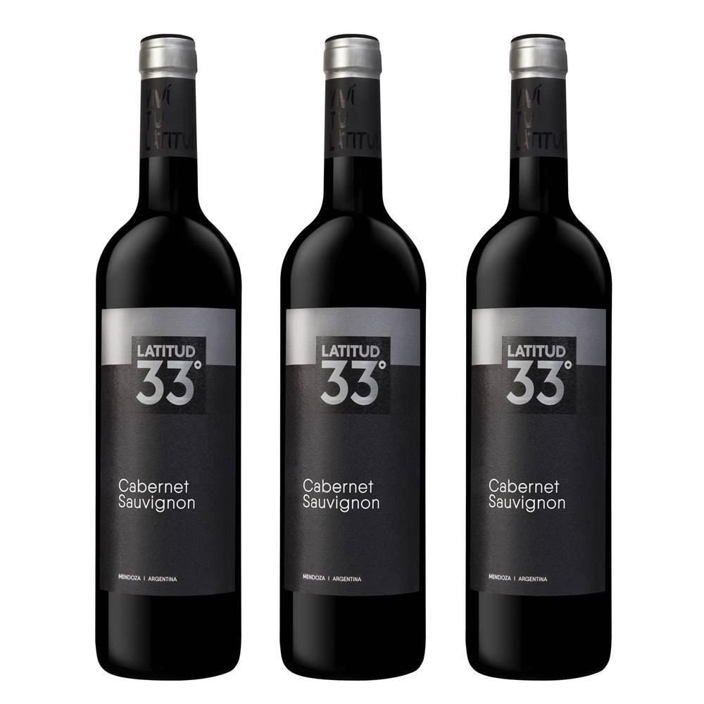 Kit 03 Unidades Vinho Latitud 33 Cabernet Sauvignon 750ml
