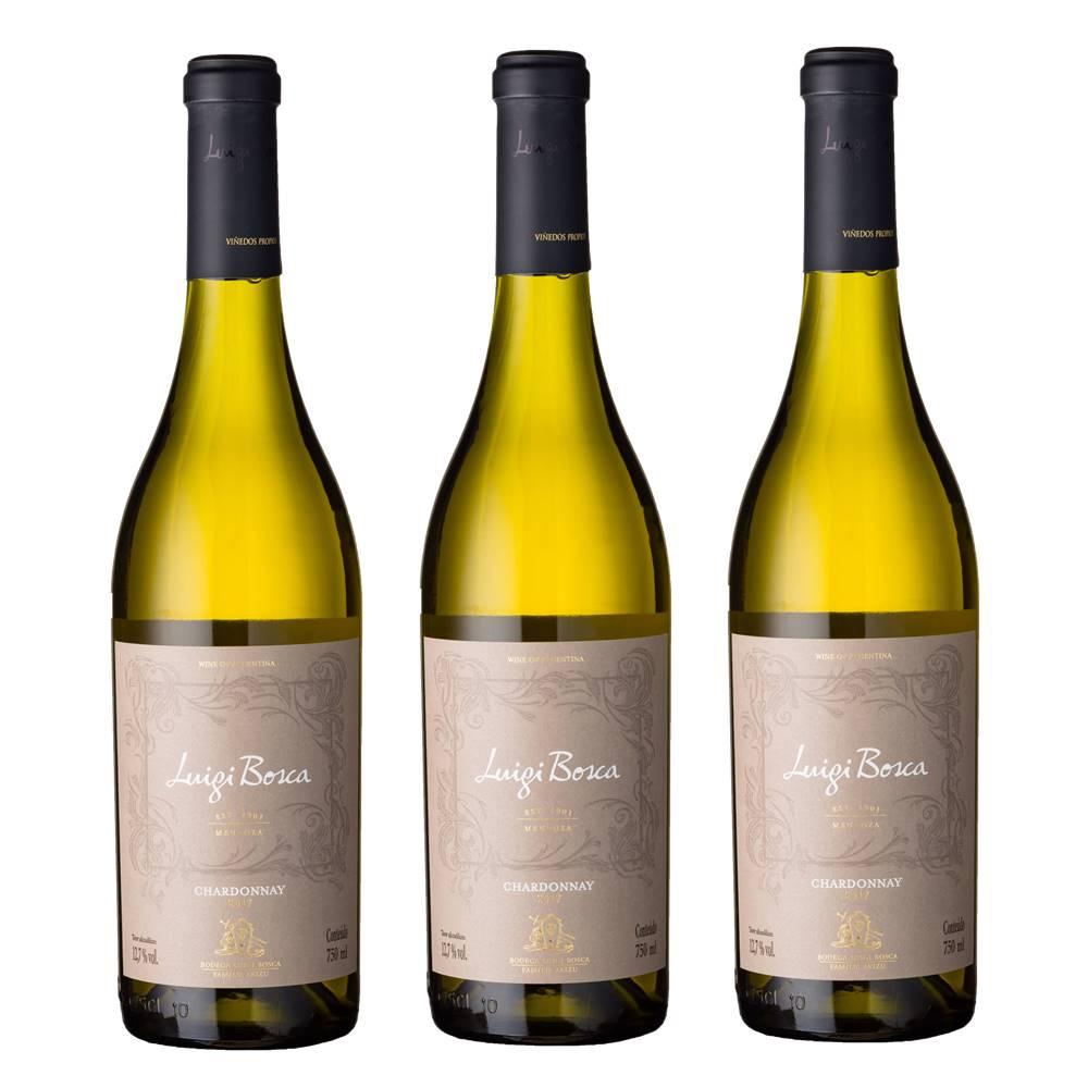 Kit 03 Unidades Vinho Luigi Bosca Chardonnay 750ml