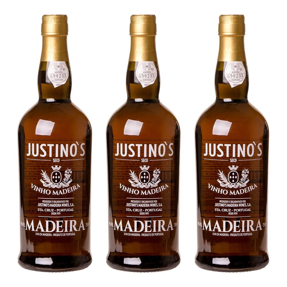 Kit 03 Unidades Vinho Madeira Justinos 3 Anos Seco 750ml