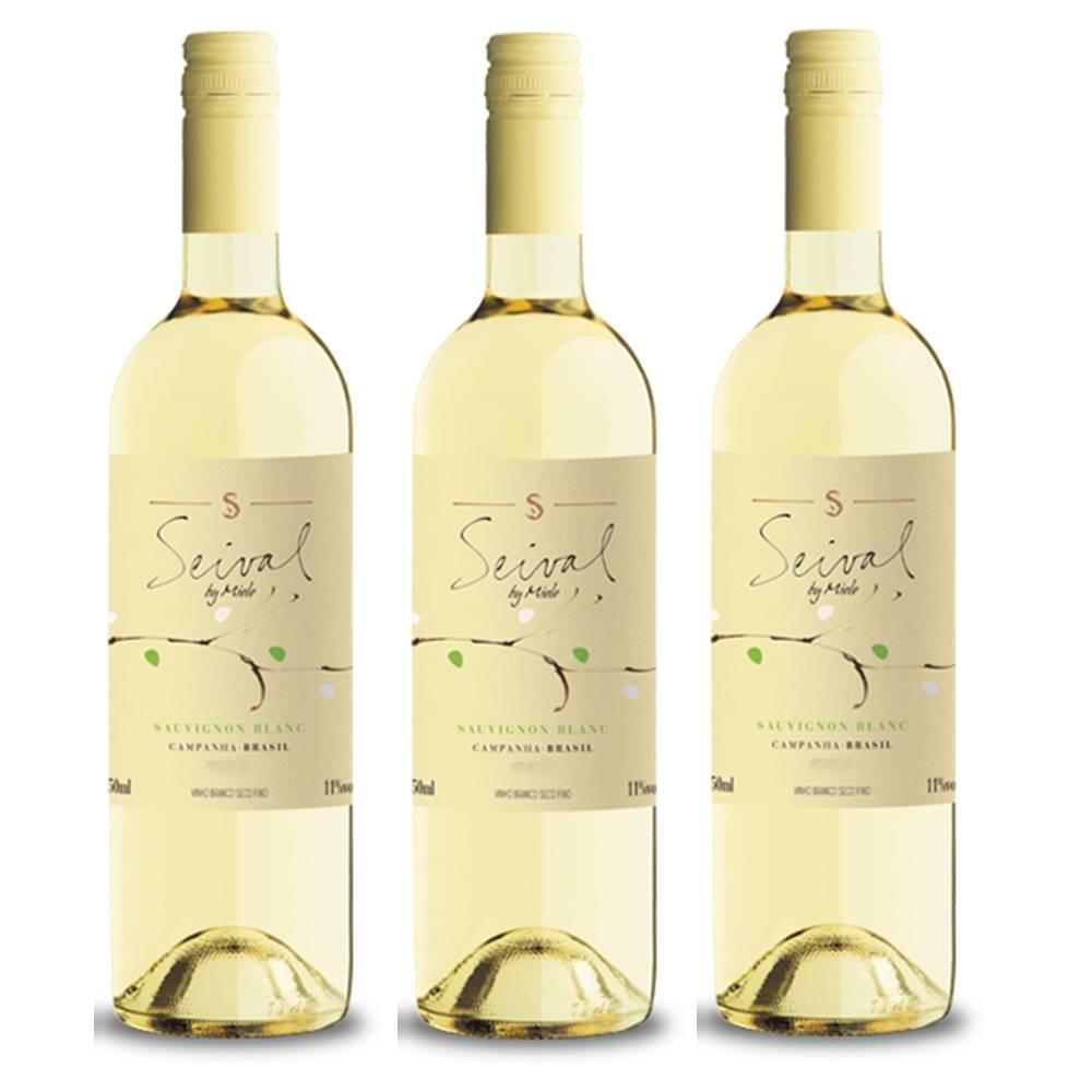 Kit 03 Unidades Vinho Miolo Seival Sauvignon Blanc 750ml