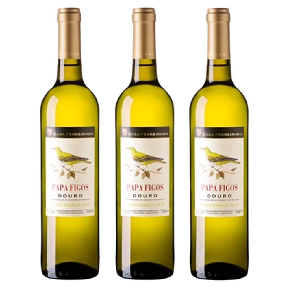 Kit 03 Unidades Vinho Papa Figos Branco Douro 750ml