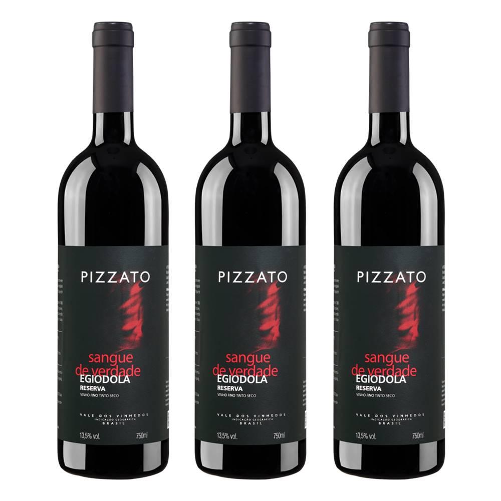 Kit 03 Unidades Vinho Pizzato Reserva Egiodola 750ml