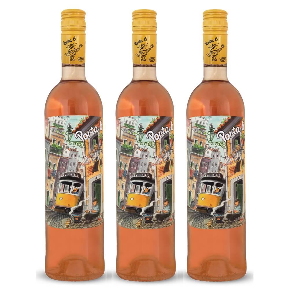 Kit 03 Unidades Vinho Porta 6 Rosé 750ml
