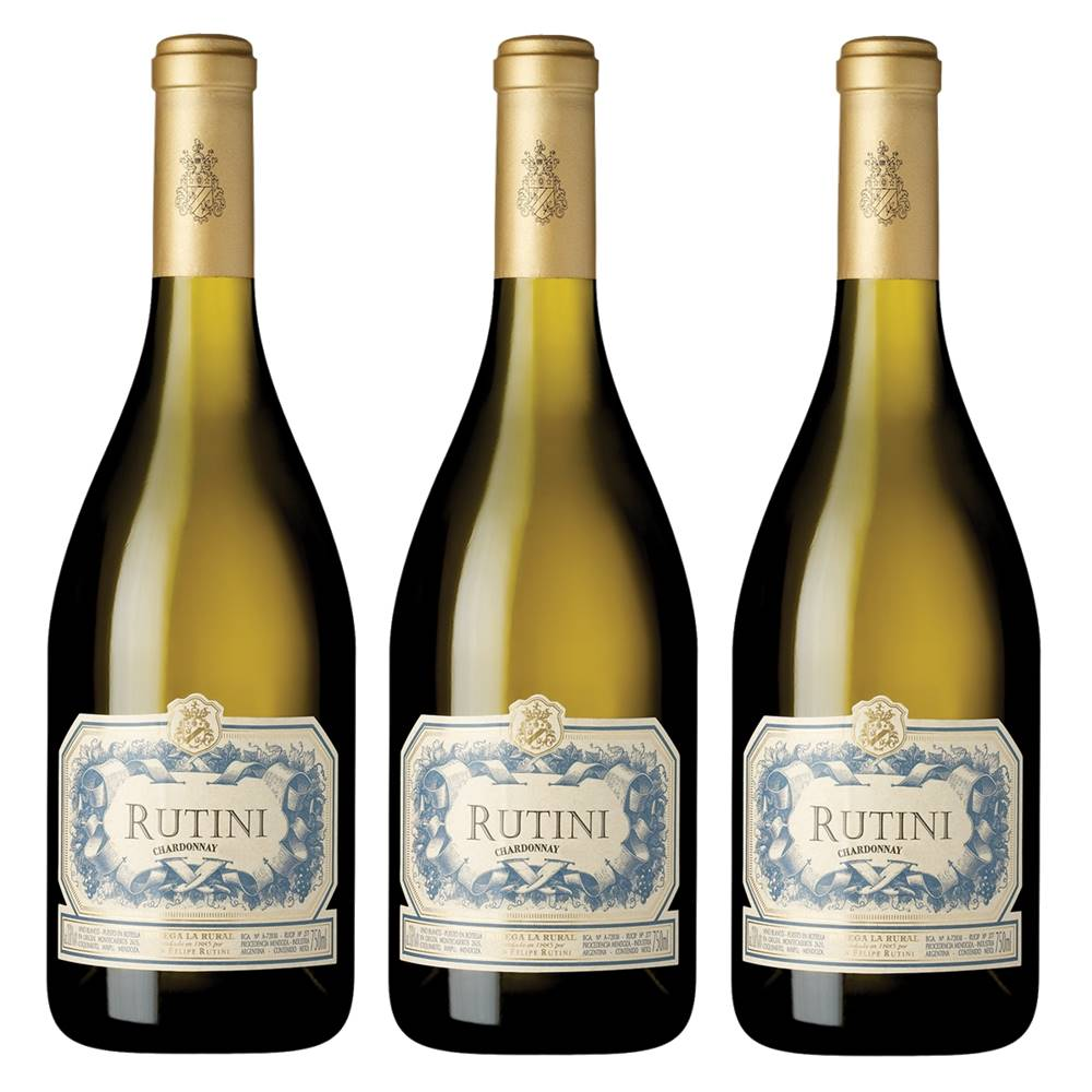 Kit 03 Unidades Vinho Rutini Chardonnay 750ml