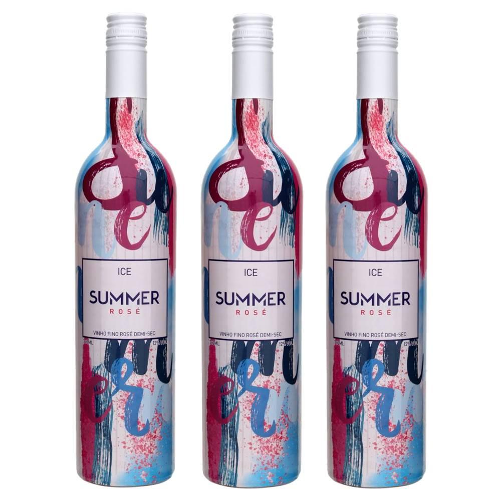 Kit 03 Unidades Vinho Summer Ice Rosé Casa Motter 750ml