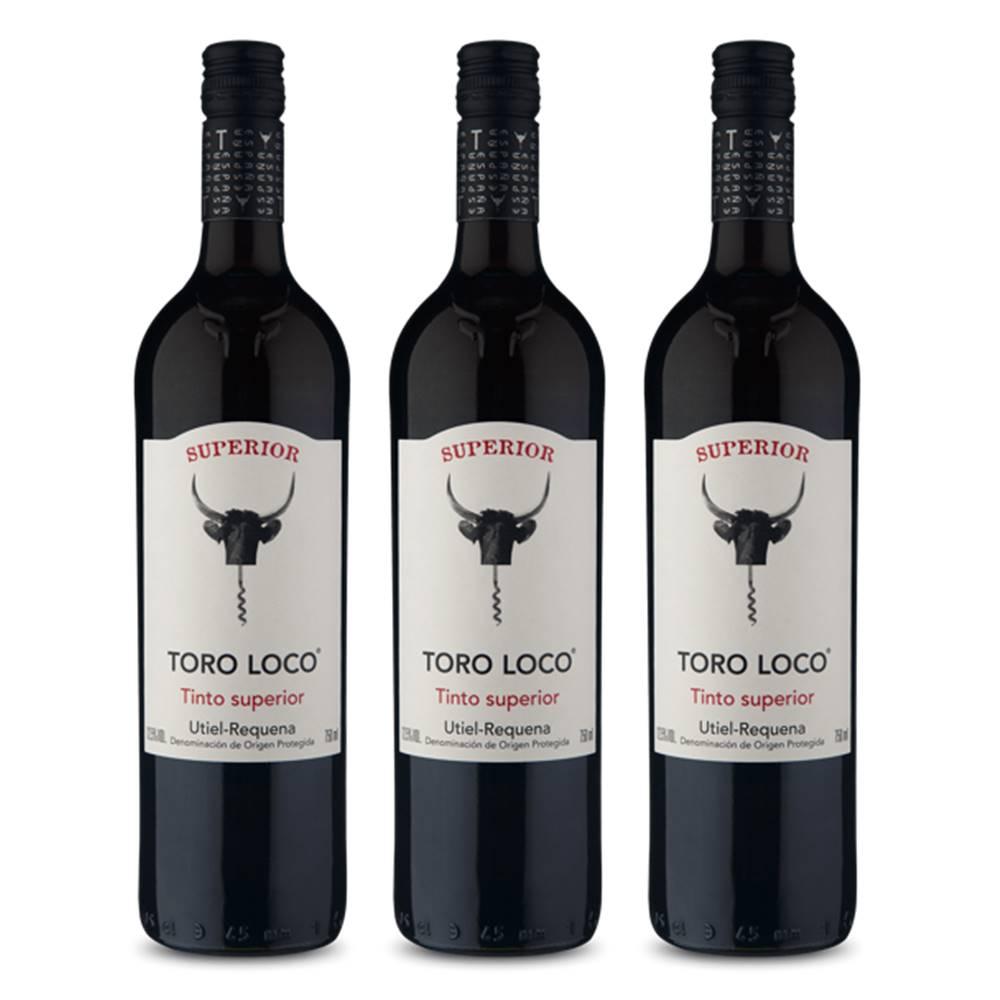 Kit 03 Unidades Vinho Toro Loco Tinto Superior 750ml